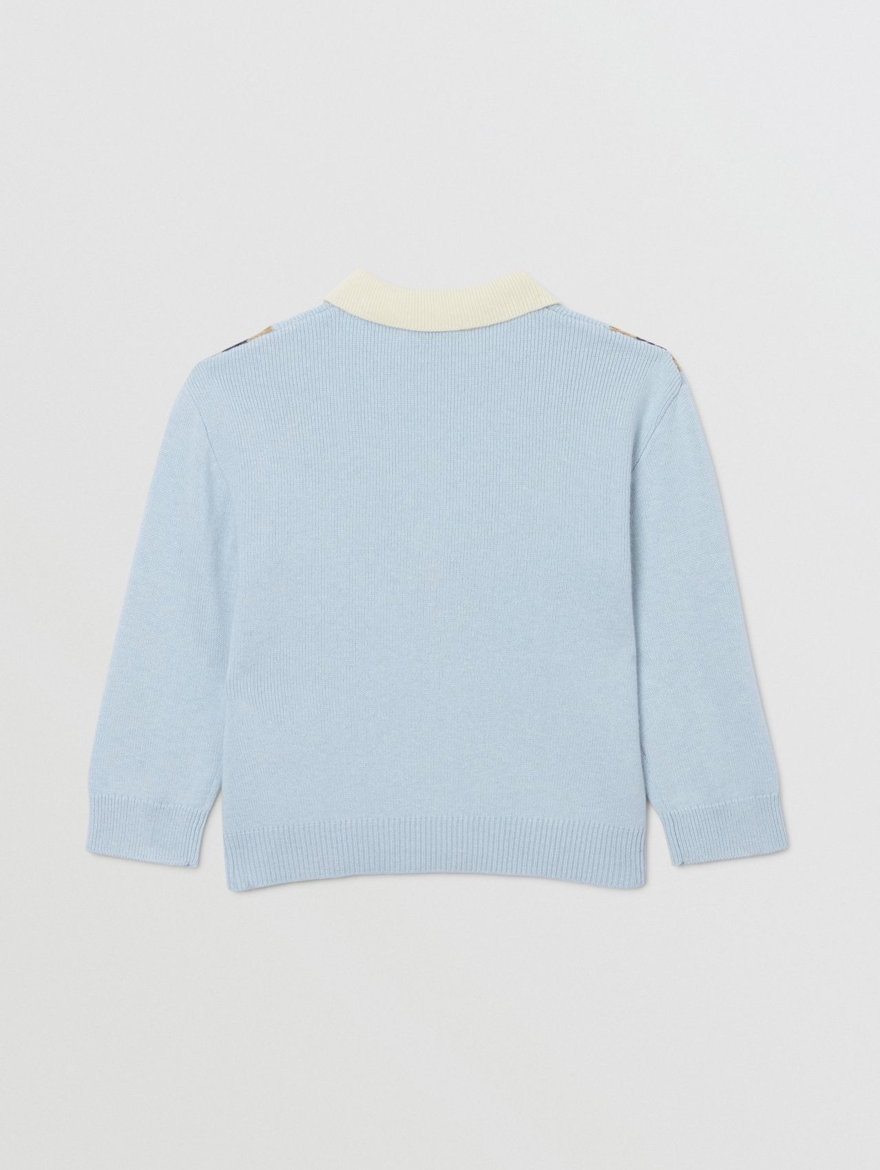 Long-sleeve Knit Cashmere Cotton Polo Shirt in Light Blue