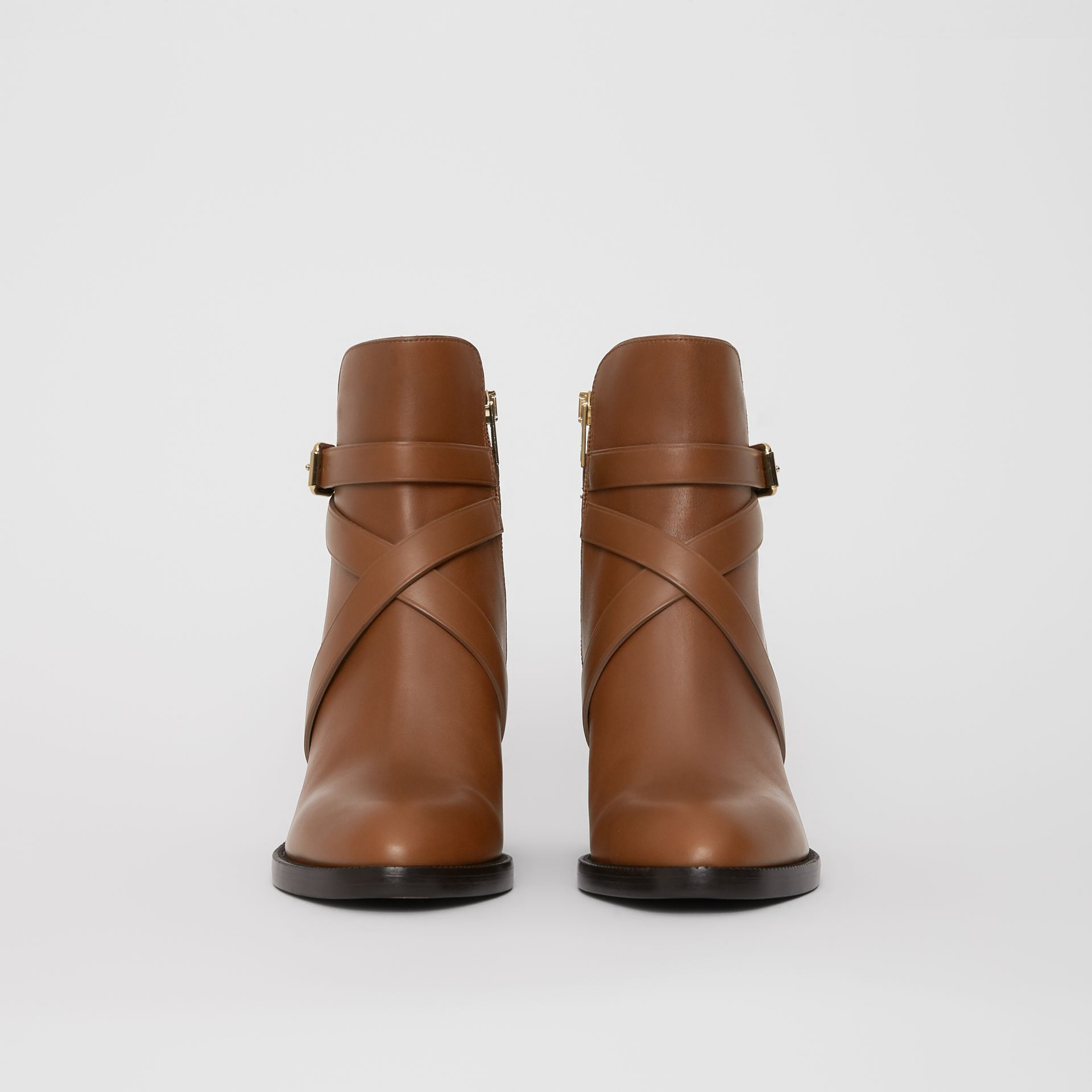 House Check and Leather Ankle Boots in Bright Camel - Women | Burberry United Kingdom - gallery image 3