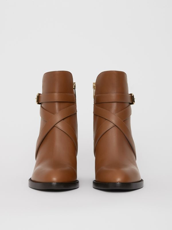 House Check and Leather Ankle Boots in Bright Camel - Women | Burberry United Kingdom - cell image 3