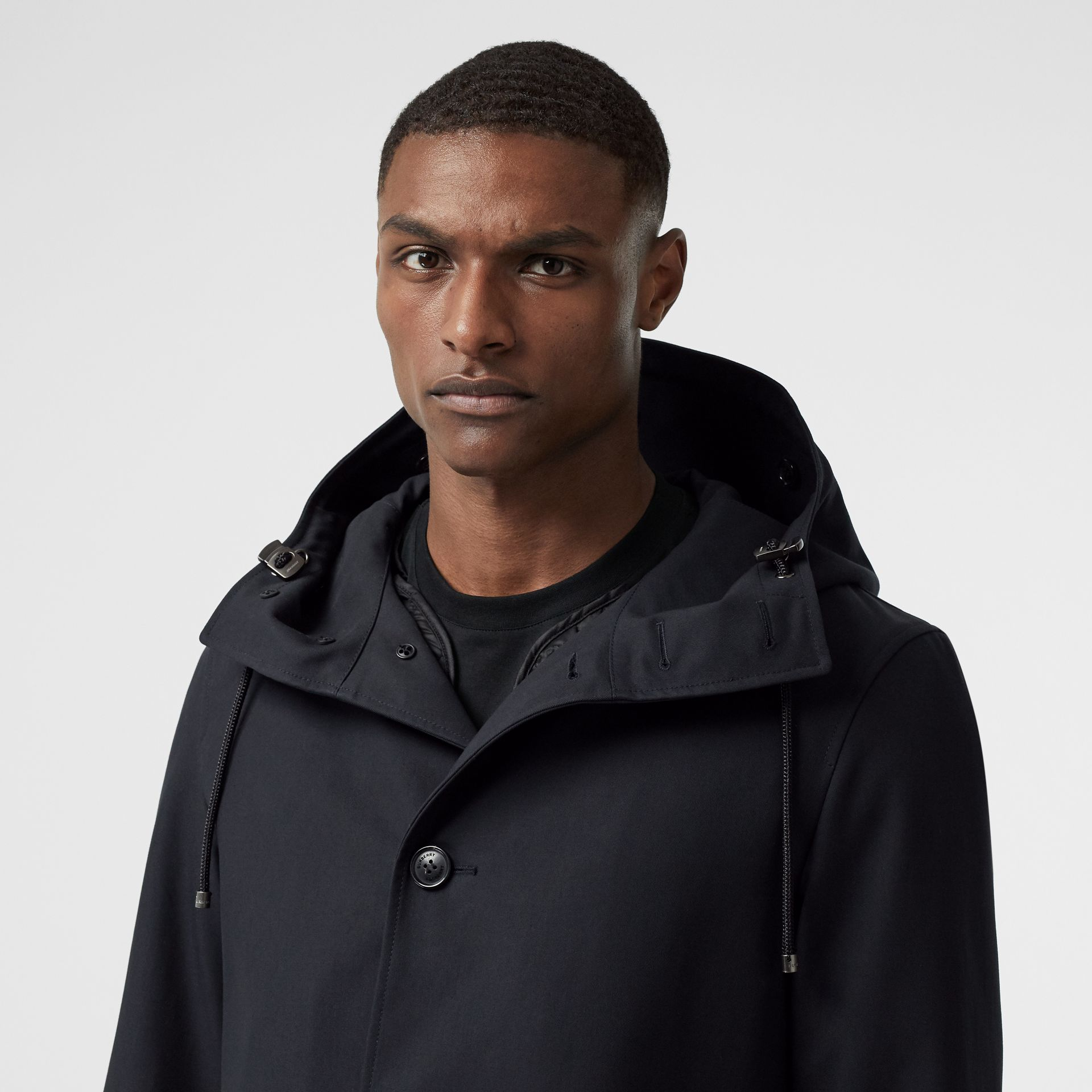 Cotton Gabardine Coat with Detachable Warmer in Midnight - Men | Burberry Australia - gallery image 1