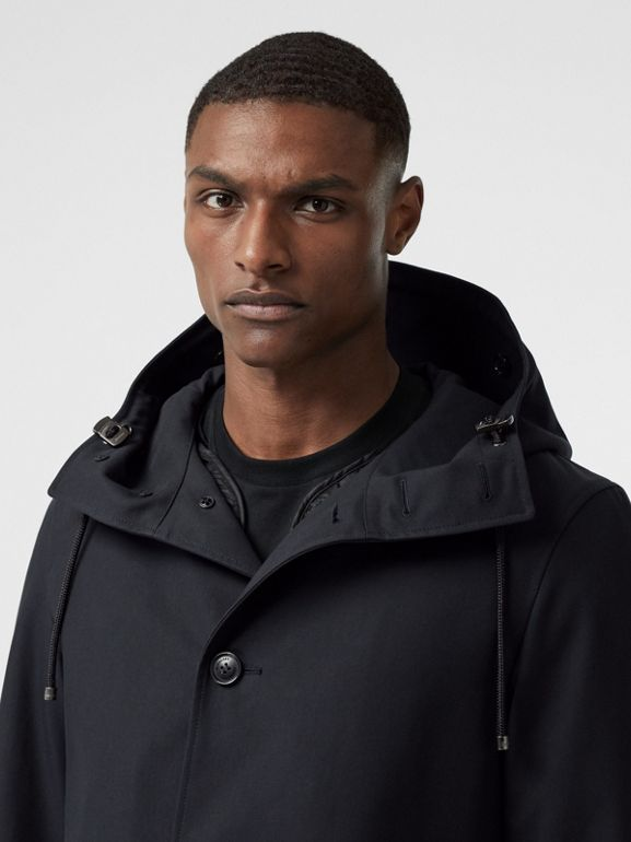 Cotton Gabardine Coat with Detachable Warmer in Midnight - Men | Burberry - cell image 1