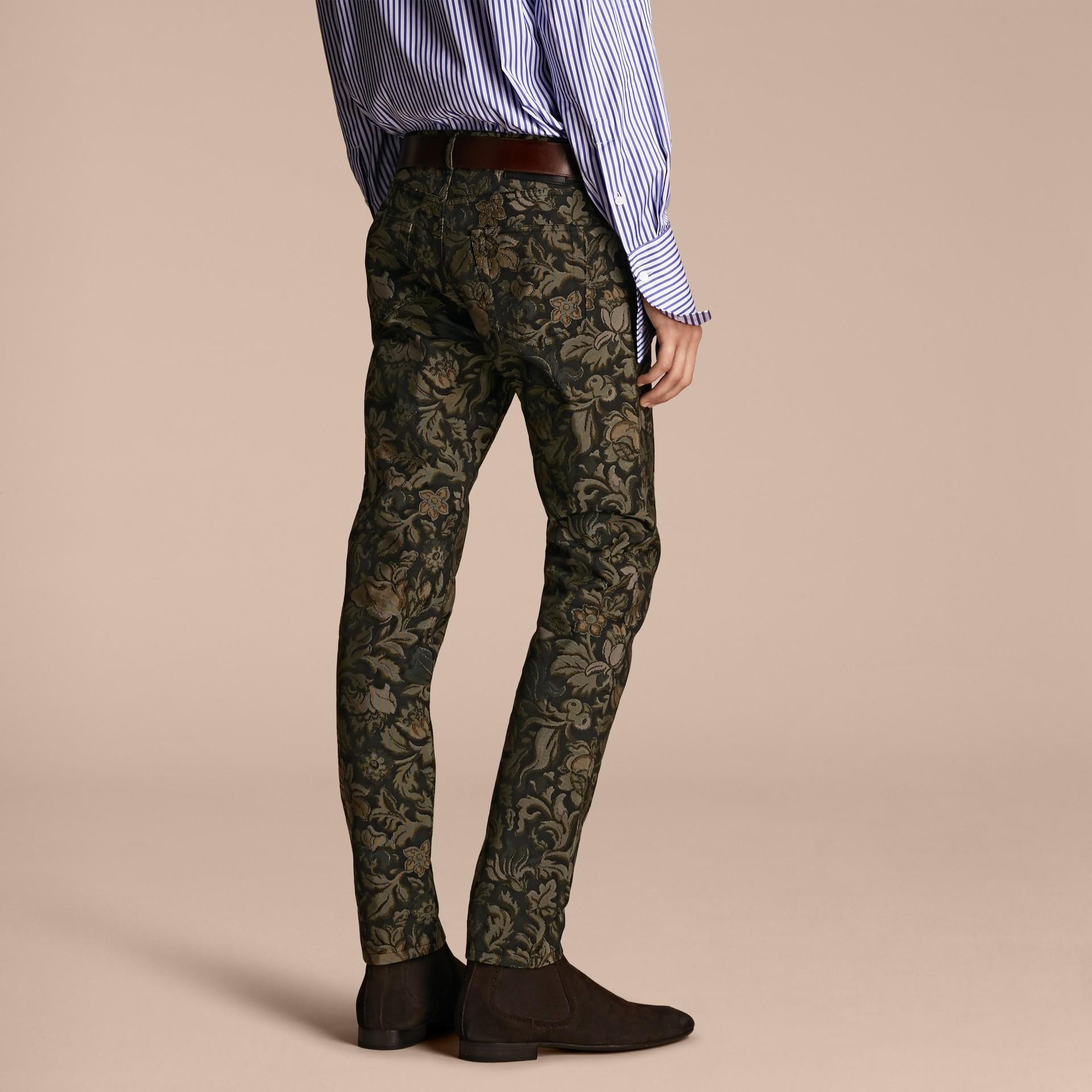 Sage Slim Fit Floral Jacquard Jeans Sage - gallery image 3