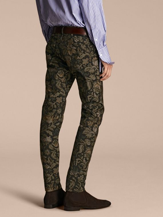Slim Fit Floral Jacquard Jeans in Sage - cell image 2