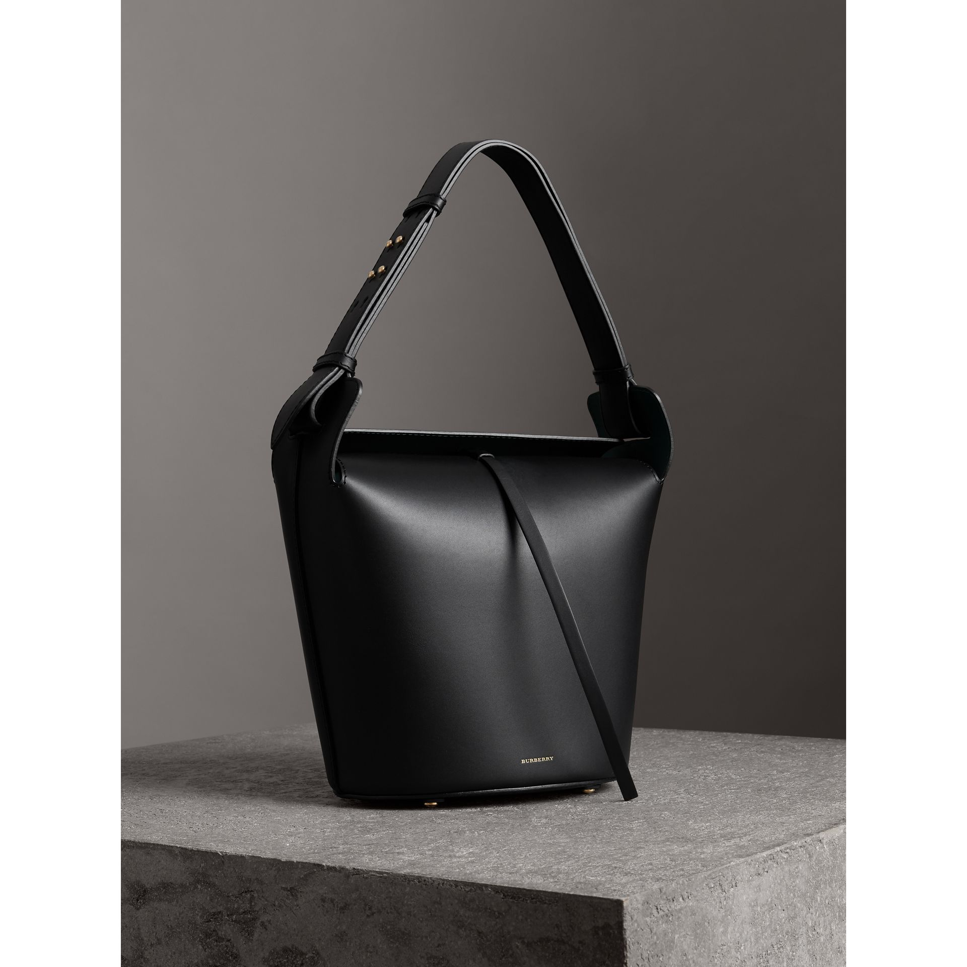The Medium Leather Bucket Bag in Black - Women | Burberry - gallery image 7