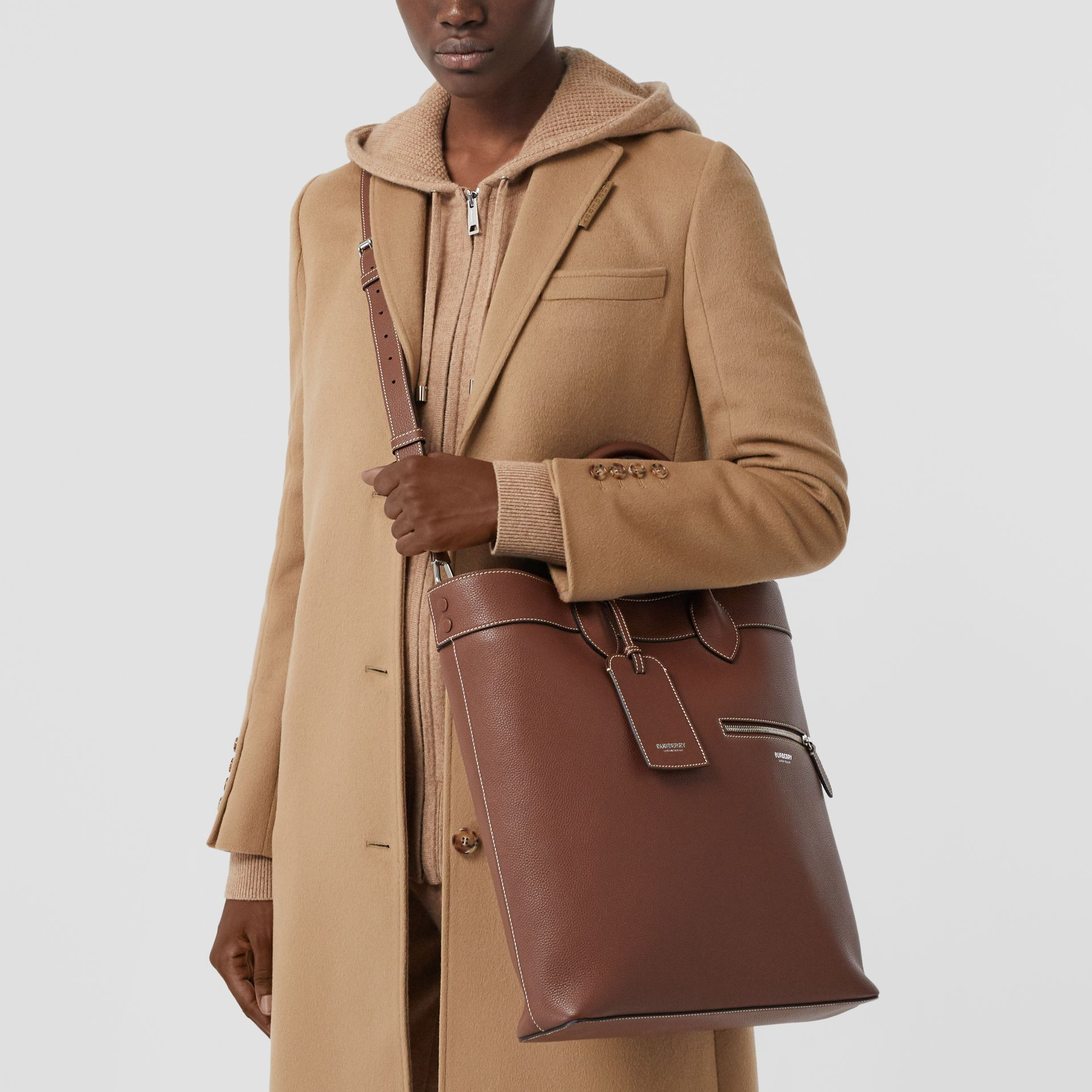 Grainy Leather Tote in Tan | Burberry - gallery image 10