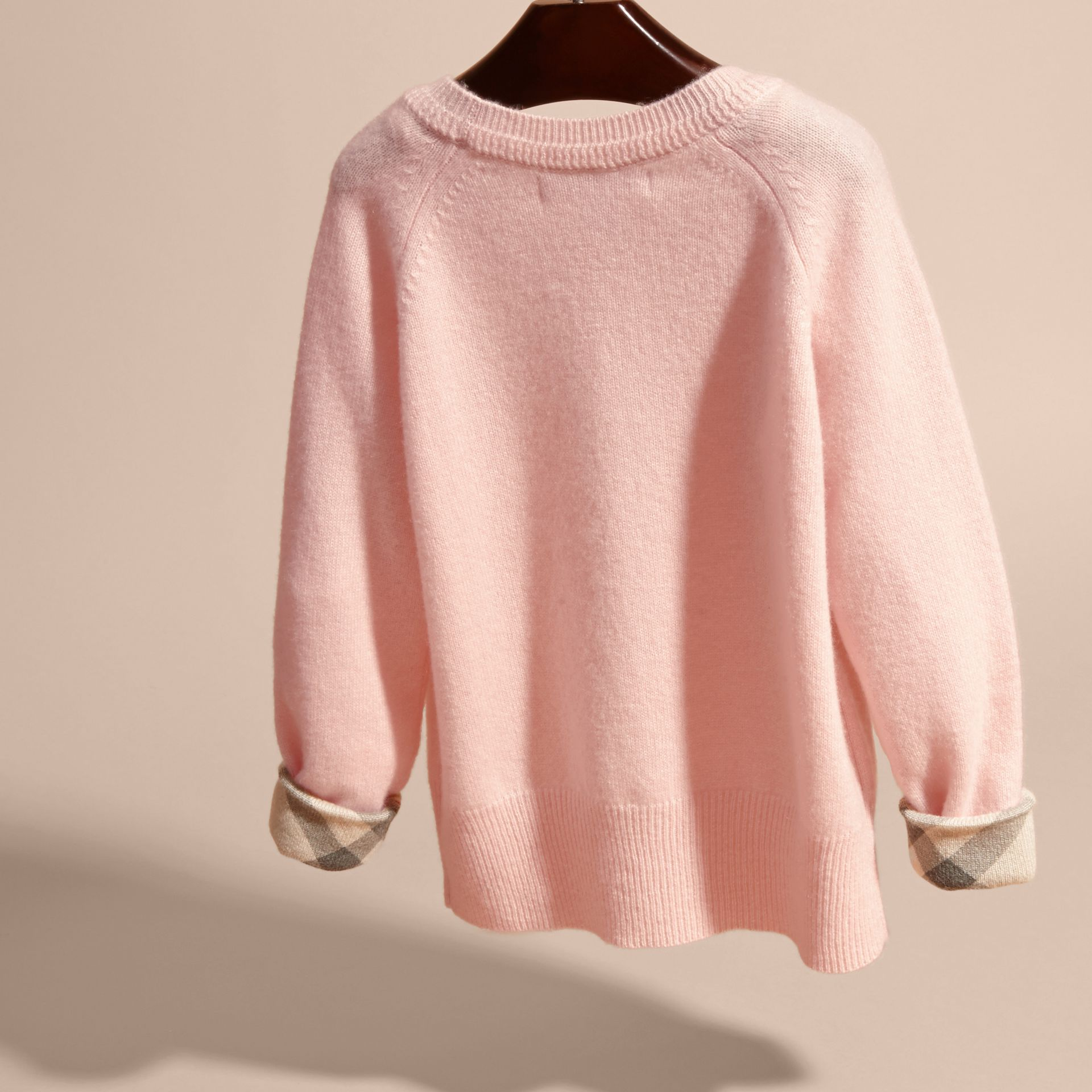 Check Cuff Cashmere Sweater in Blossom - Girl | Burberry - gallery image 4