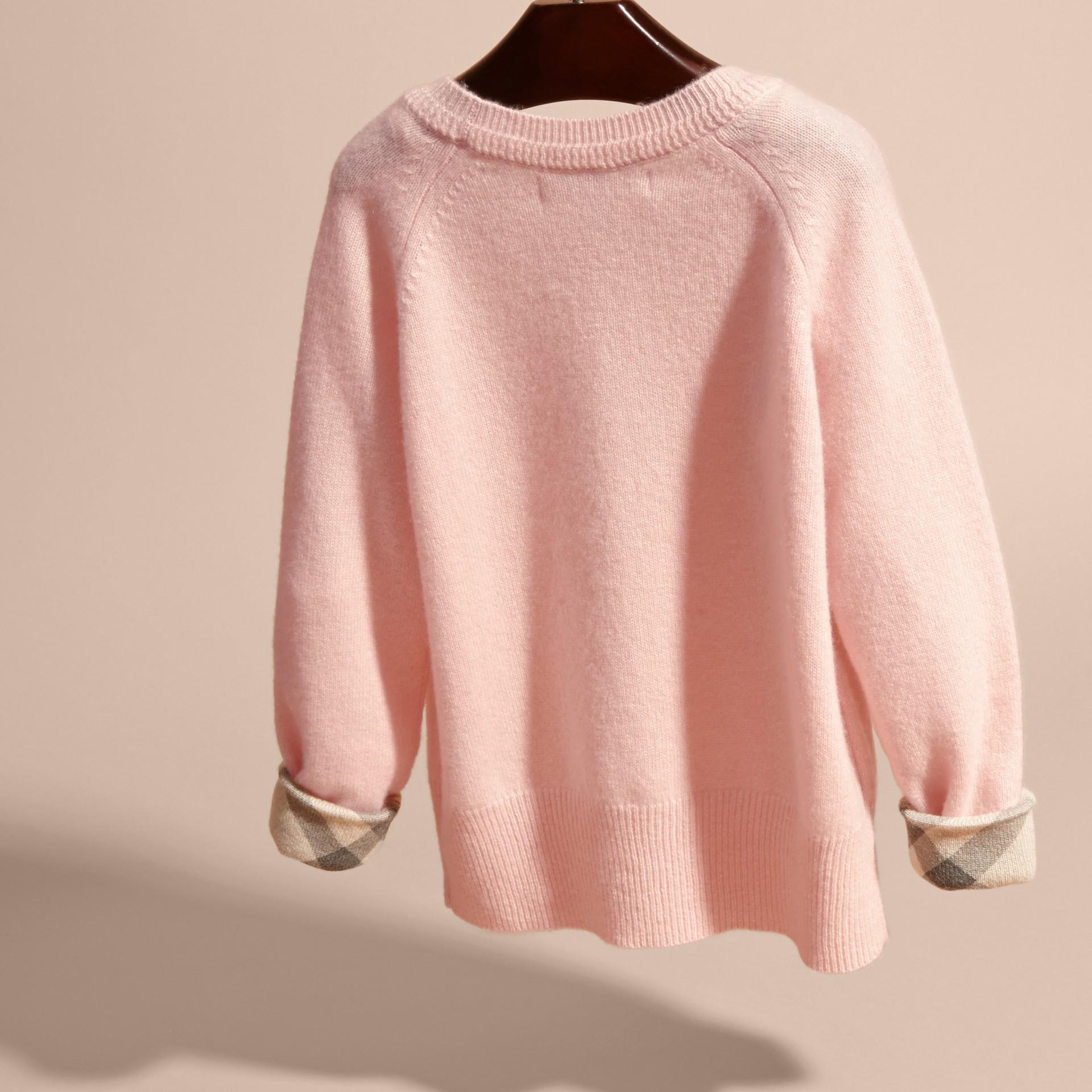 Blossom Check Cuff Cashmere Sweater Blossom - gallery image 4