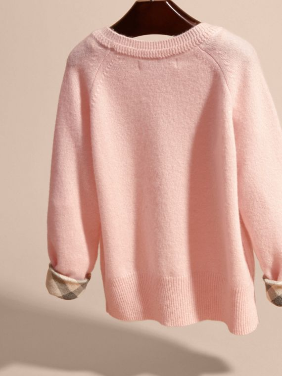 Check Cuff Cashmere Sweater in Blossom - Girl | Burberry - cell image 3