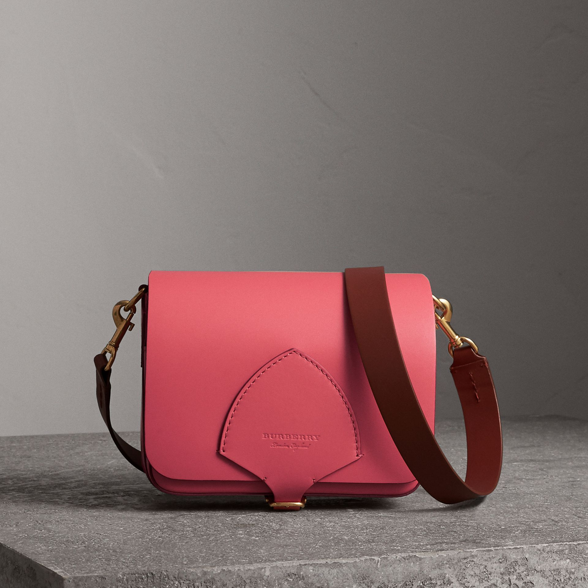 The Square Satchel in Leather in Bright Peony - Women | Burberry Canada - gallery image 0