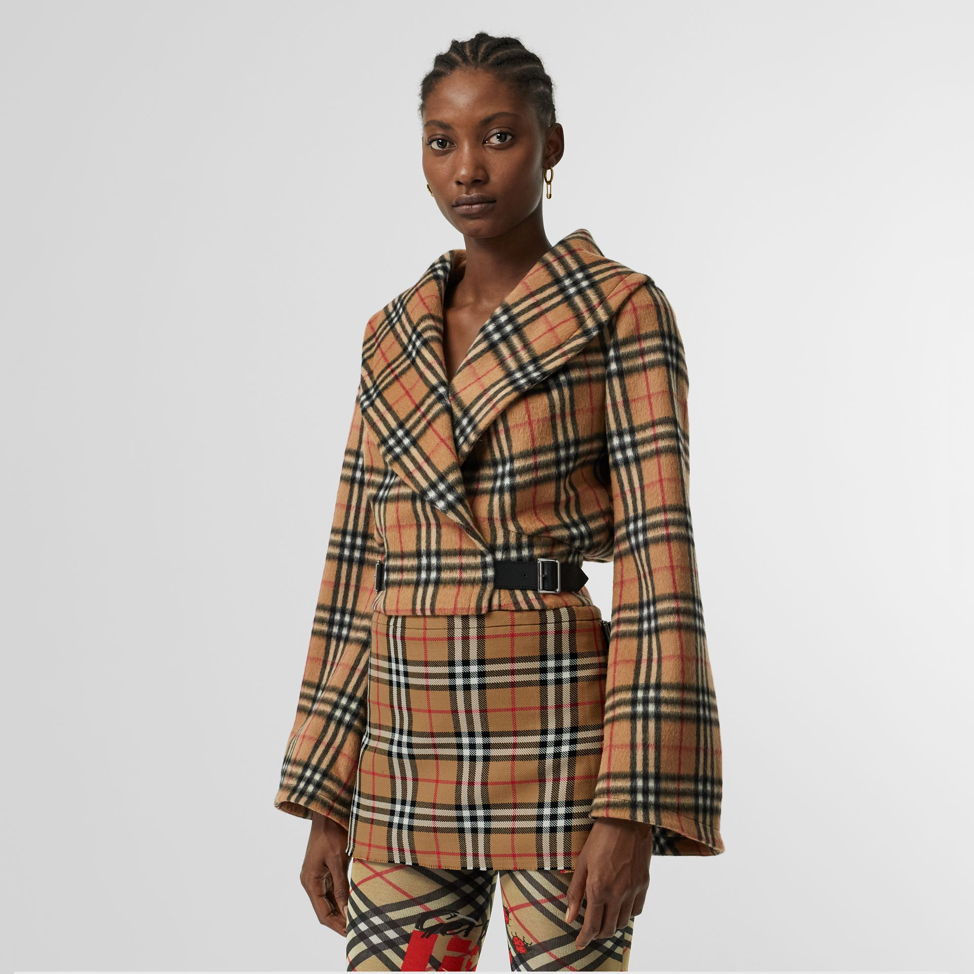 Vintage Check Alpaca Wool Hugger Jacket in Antique Yellow - Women | Burberry Australia - gallery image 6
