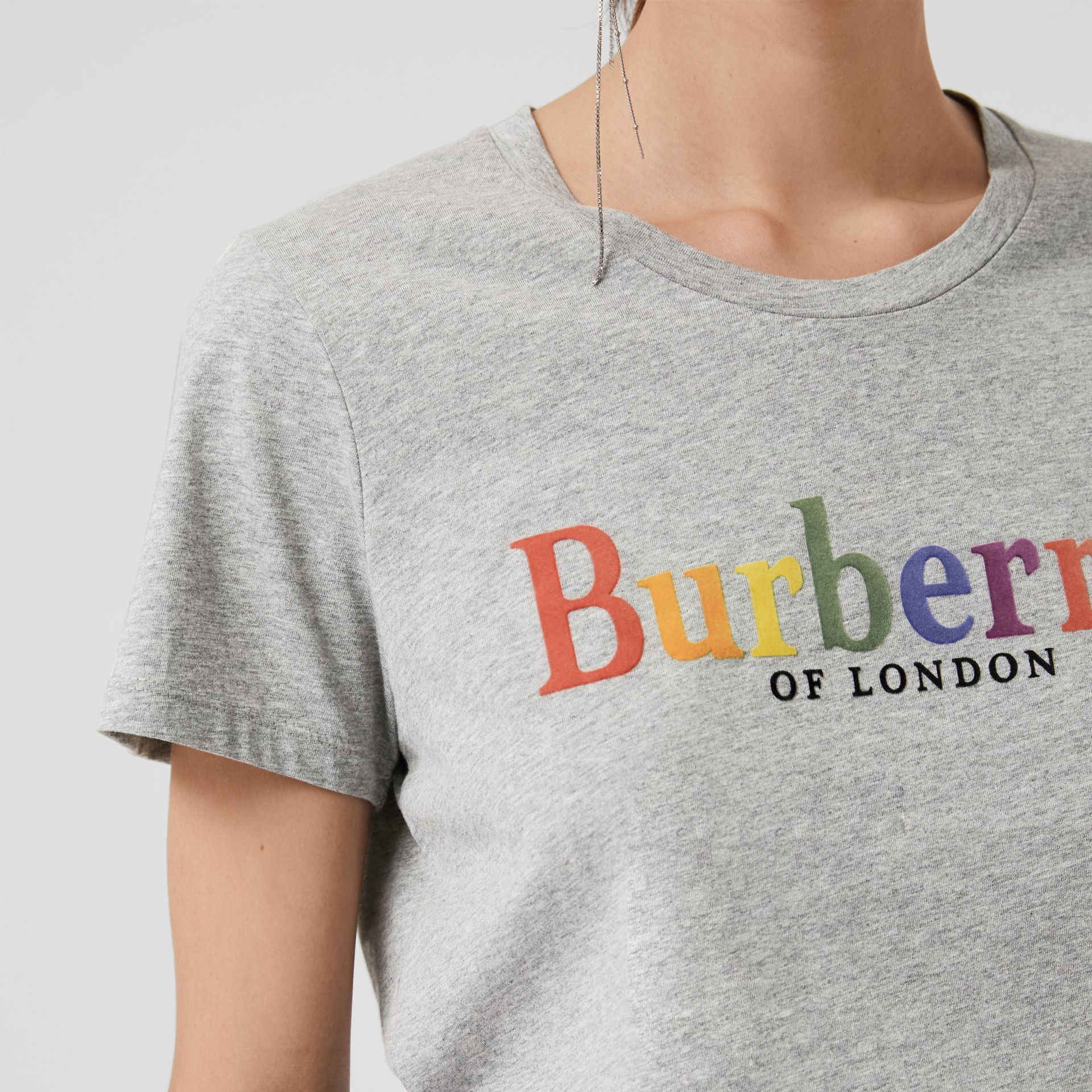 Archive Logo Cotton T-shirt in Pale Grey Melange - Women | Burberry - gallery image 1