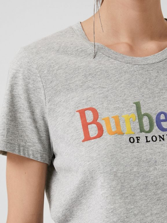 Archive Logo Cotton T-shirt in Pale Grey Melange - Women | Burberry - cell image 1