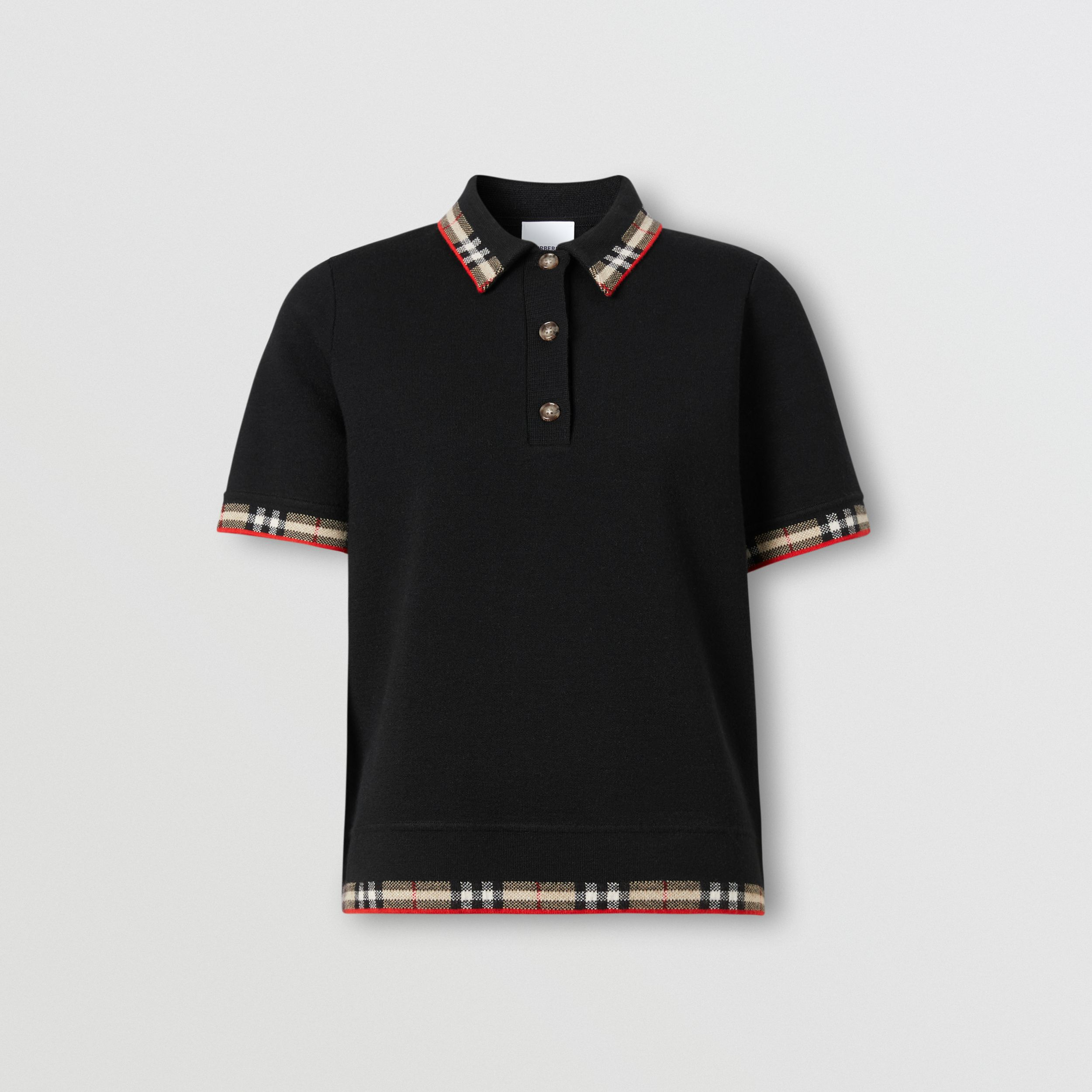 Check Trim Merino Wool Blend Polo Shirt in Black - Women | Burberry - 4