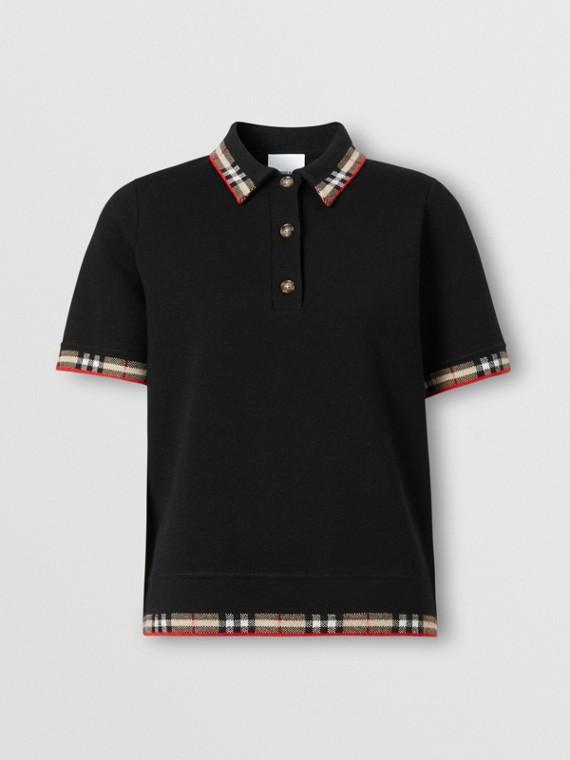 Check Trim Merino Wool Blend Polo Shirt in Black