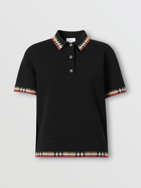 Check Trim Merino Wool Blend Polo Shirt in Black - Women | Burberry - cell image 3
