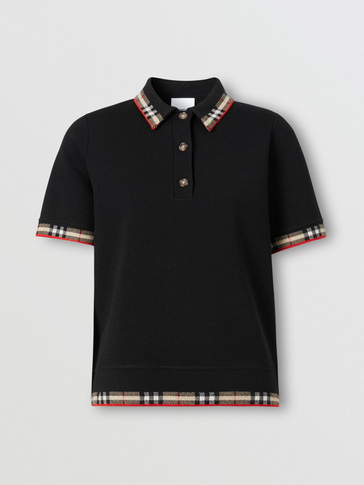 Check Trim Merino Wool Blend Polo Shirt in Black