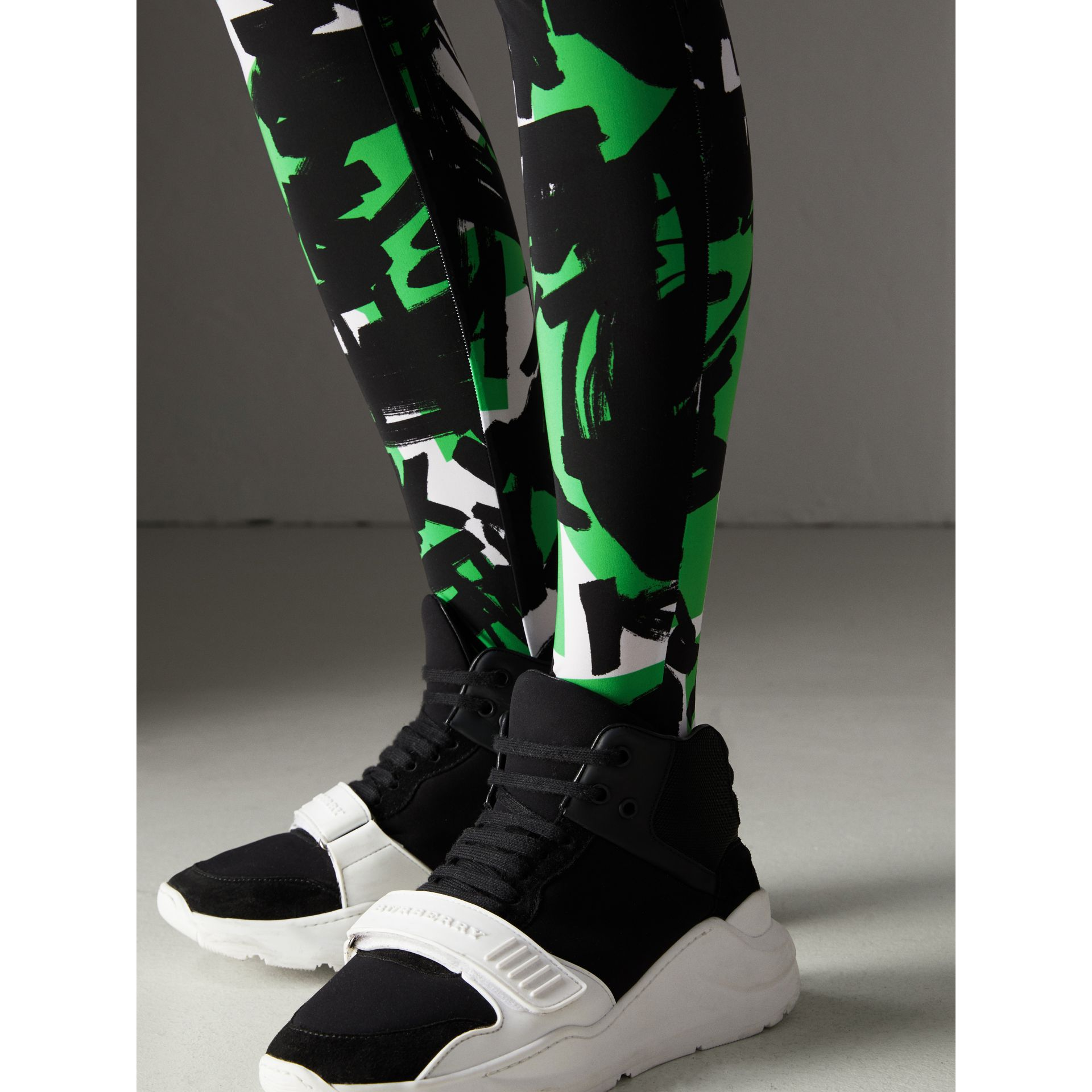 Graffiti Print Leggings in Neon Green - Women | Burberry - gallery image 1