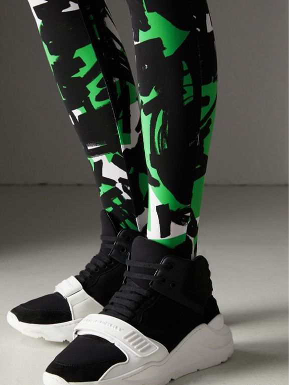 Graffiti Print Leggings in Neon Green - Women | Burberry United Kingdom - cell image 1