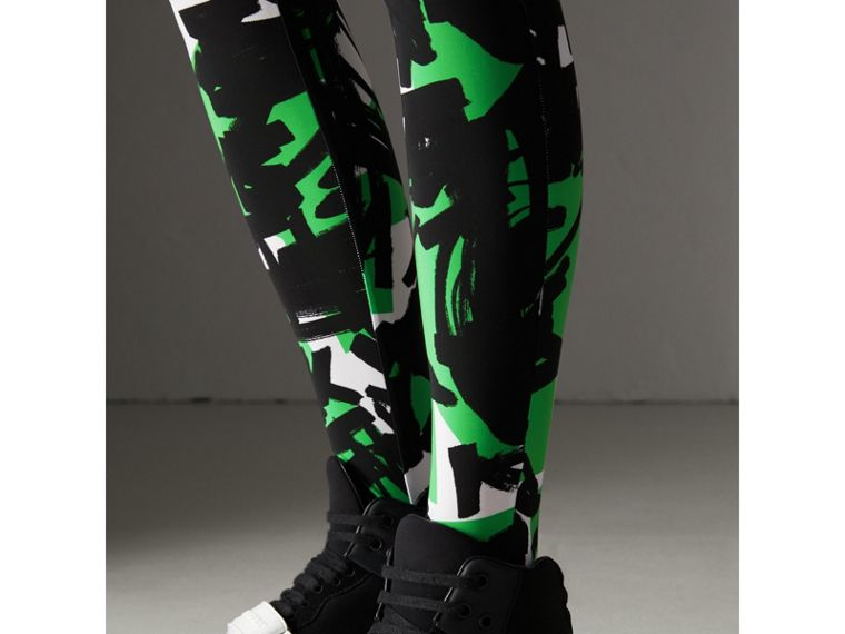 Graffiti Print Leggings in Neon Green - Women | Burberry - cell image 1