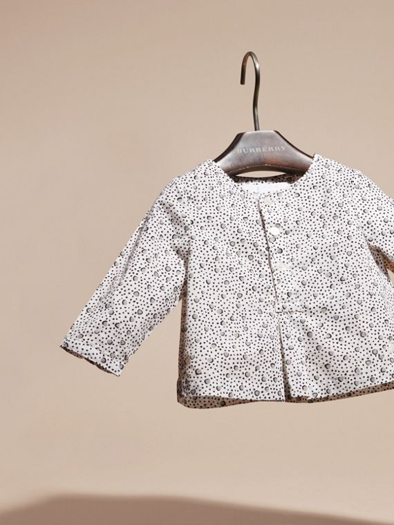 White Painterly Spot Print Cotton Shirt - cell image 2