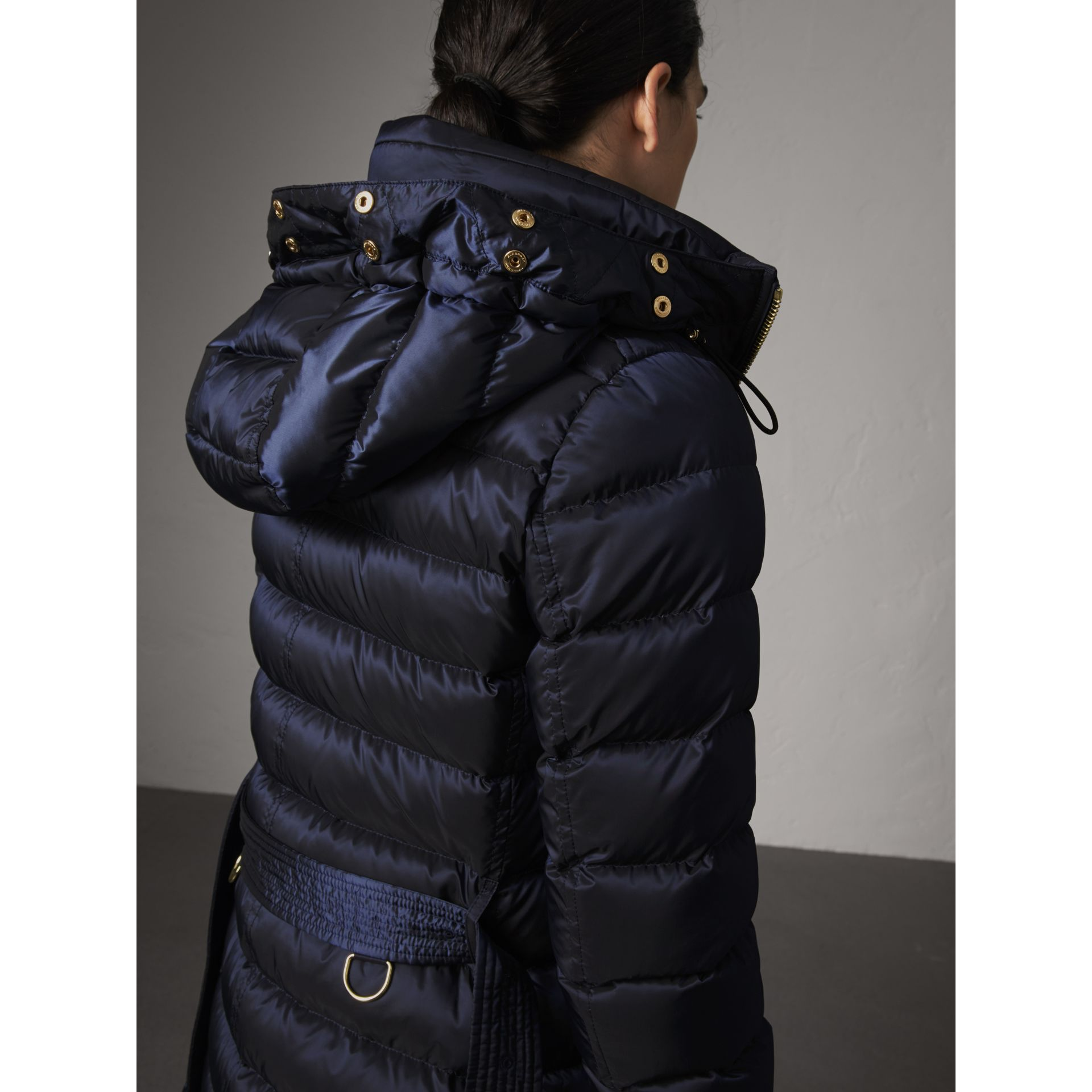 Detachable Fur Trim Down-filled Puffer Coat with Hood in Navy - Women | Burberry - gallery image 4