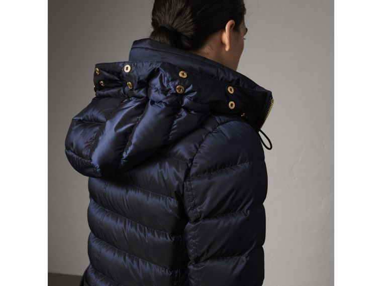 Detachable Fur Trim Down-filled Puffer Coat with Hood in Navy - Women | Burberry - cell image 4