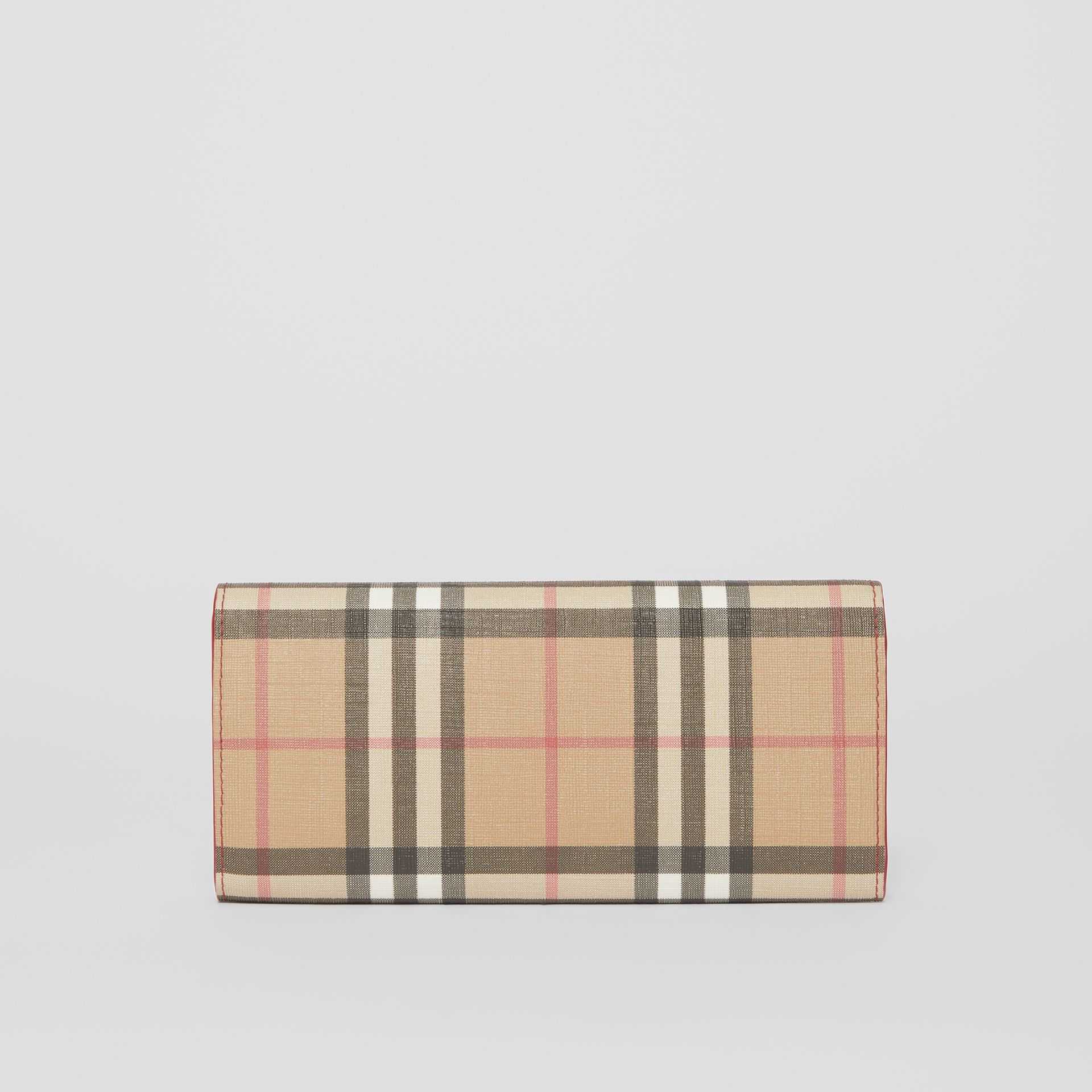 Vintage Check E-canvas and Leather Continental Wallet in Bright Military Red - Women | Burberry - gallery image 6