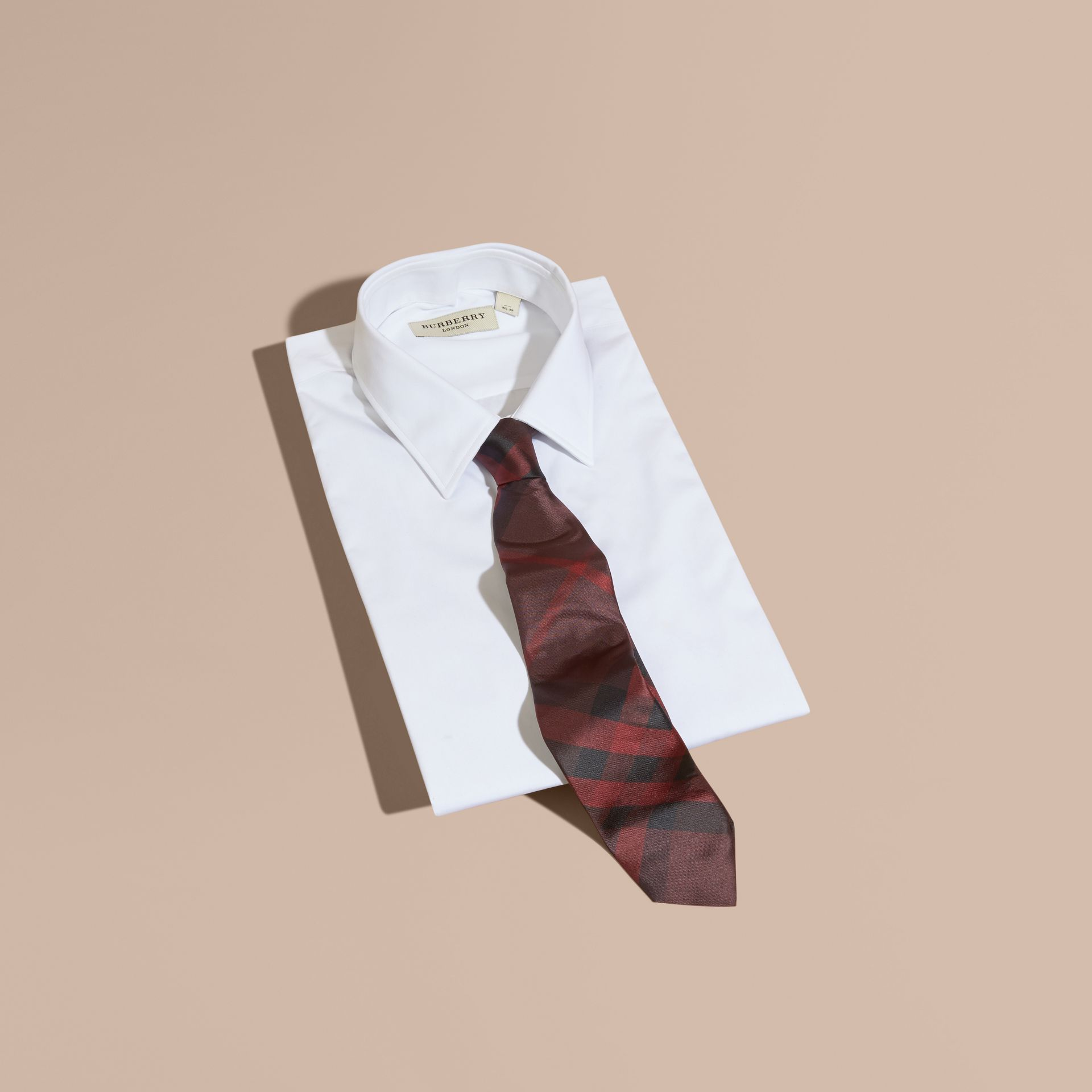 Modern Cut Check Silk Tie in Deep Claret - gallery image 4