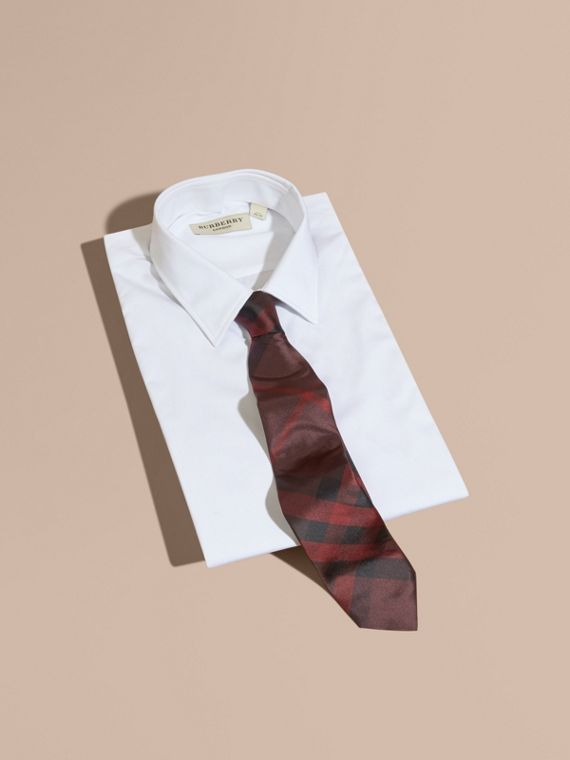 Modern Cut Check Silk Tie in Deep Claret - Men | Burberry - cell image 3
