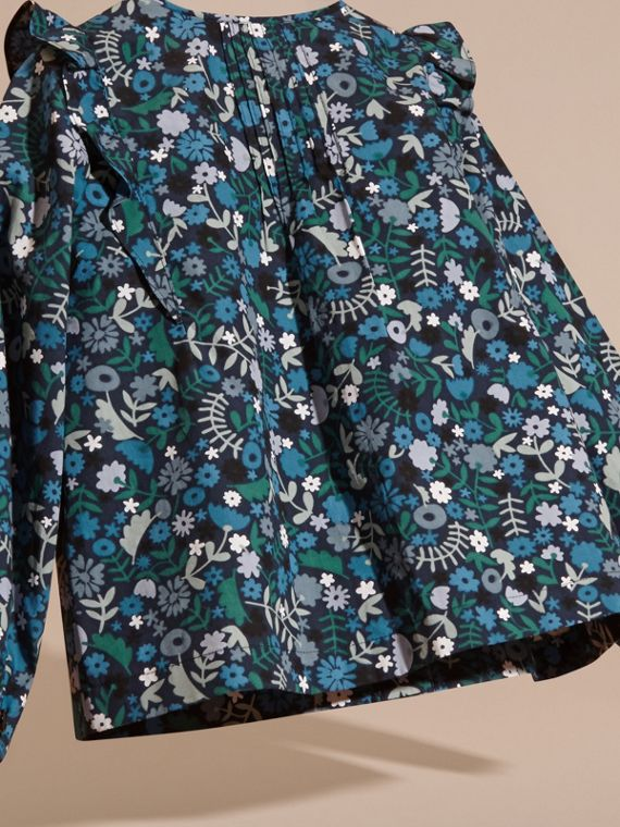 Hydrangea blue Floral Print Cotton Shirt with Ruffle Detail Hydrangea Blue - cell image 3