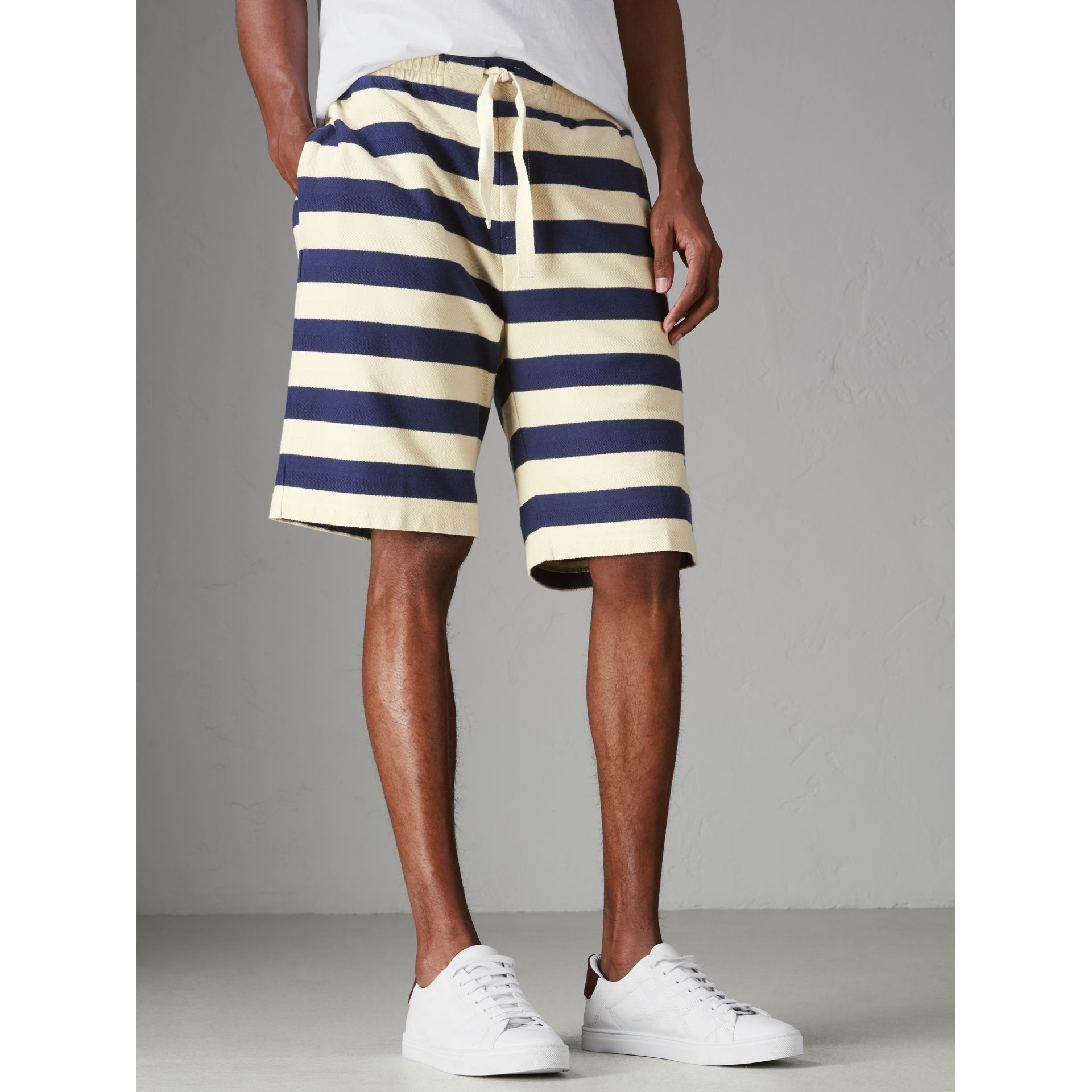 Striped Cotton Shorts in Off White/navy - Men | Burberry - gallery image 4