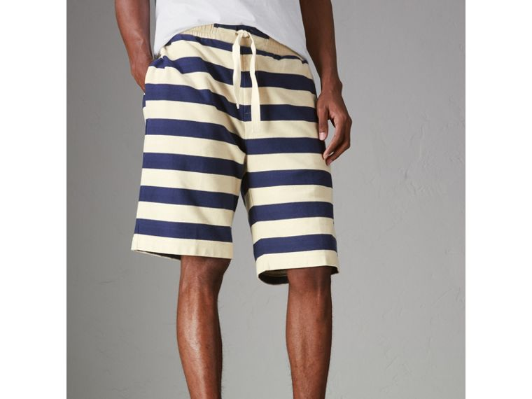 Striped Cotton Shorts in Off White/navy - Men | Burberry - cell image 4
