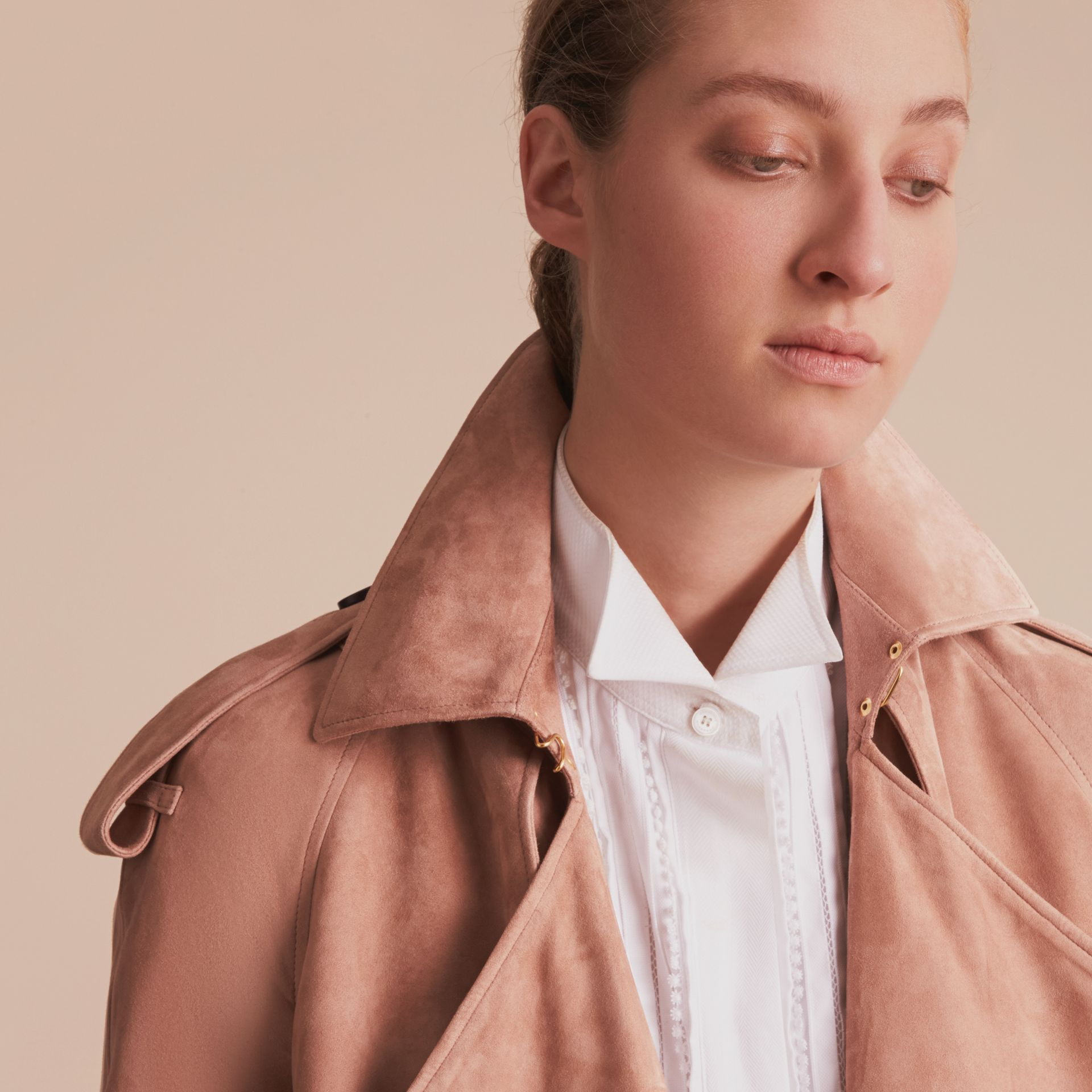 Suede Wrap Trench Coat - Women | Burberry - gallery image 6
