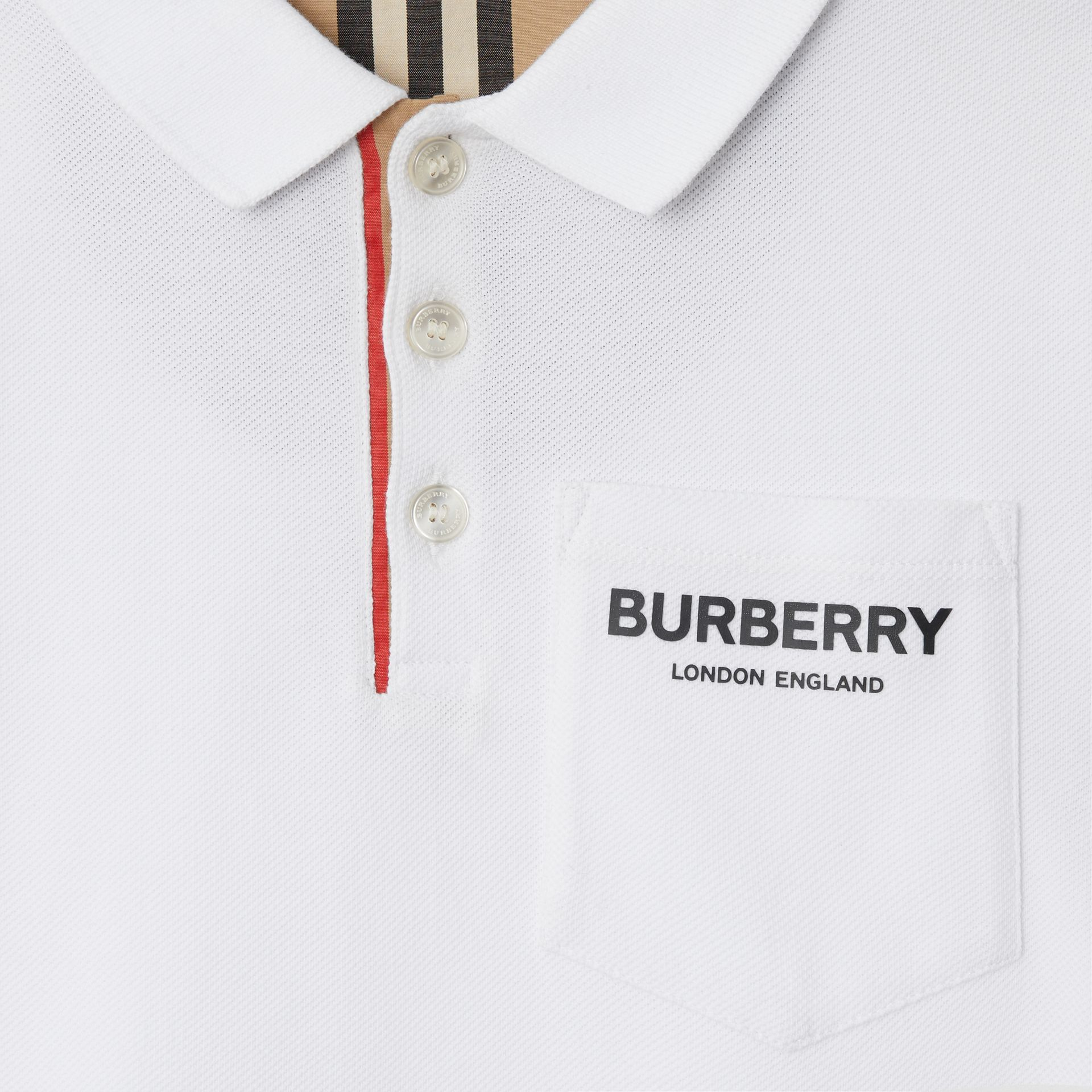 Icon Stripe Placket Cotton Piqué Polo Shirt in White | Burberry Canada - gallery image 4