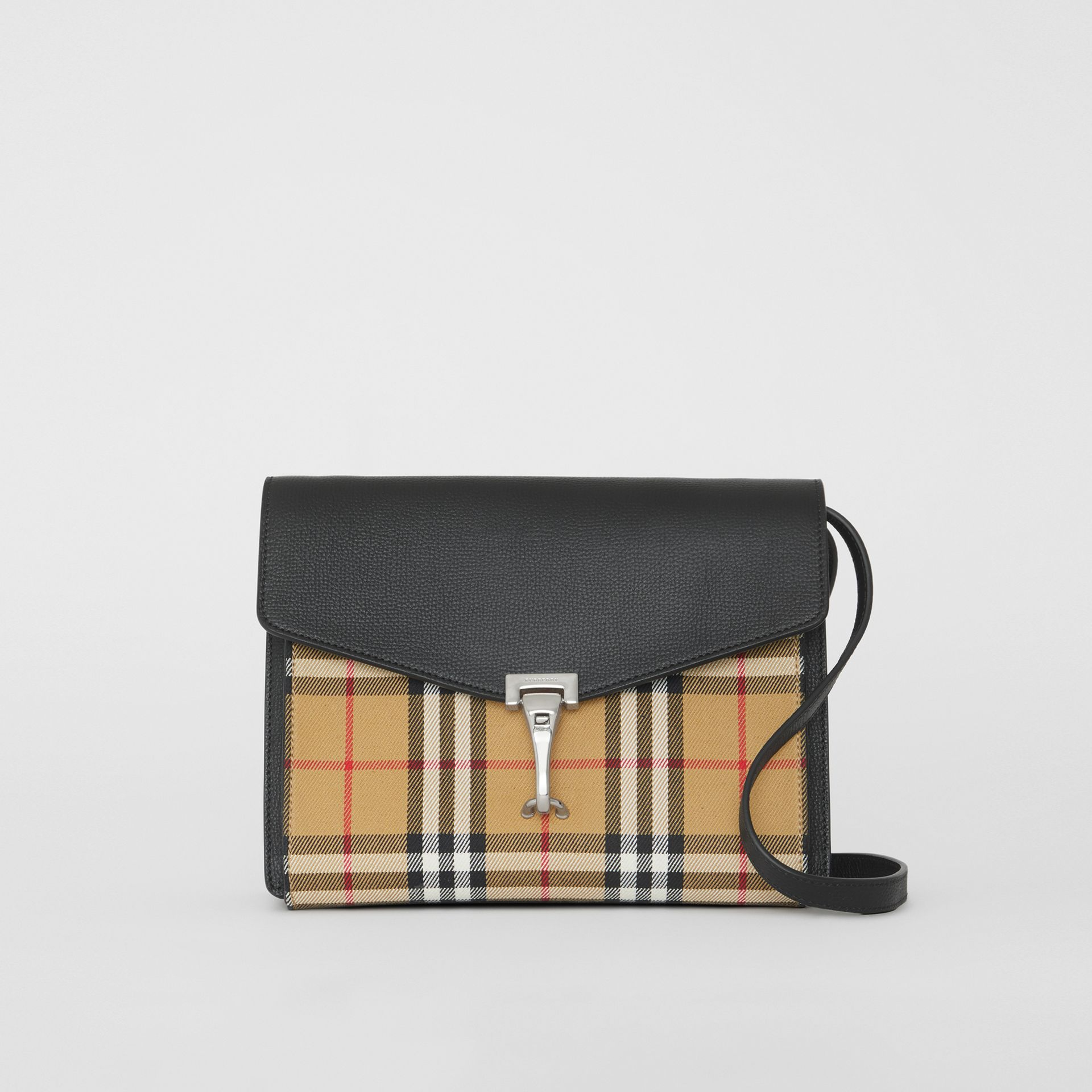 Small Vintage Check and Leather Crossbody Bag in Black - Women | Burberry United Kingdom - gallery image 0