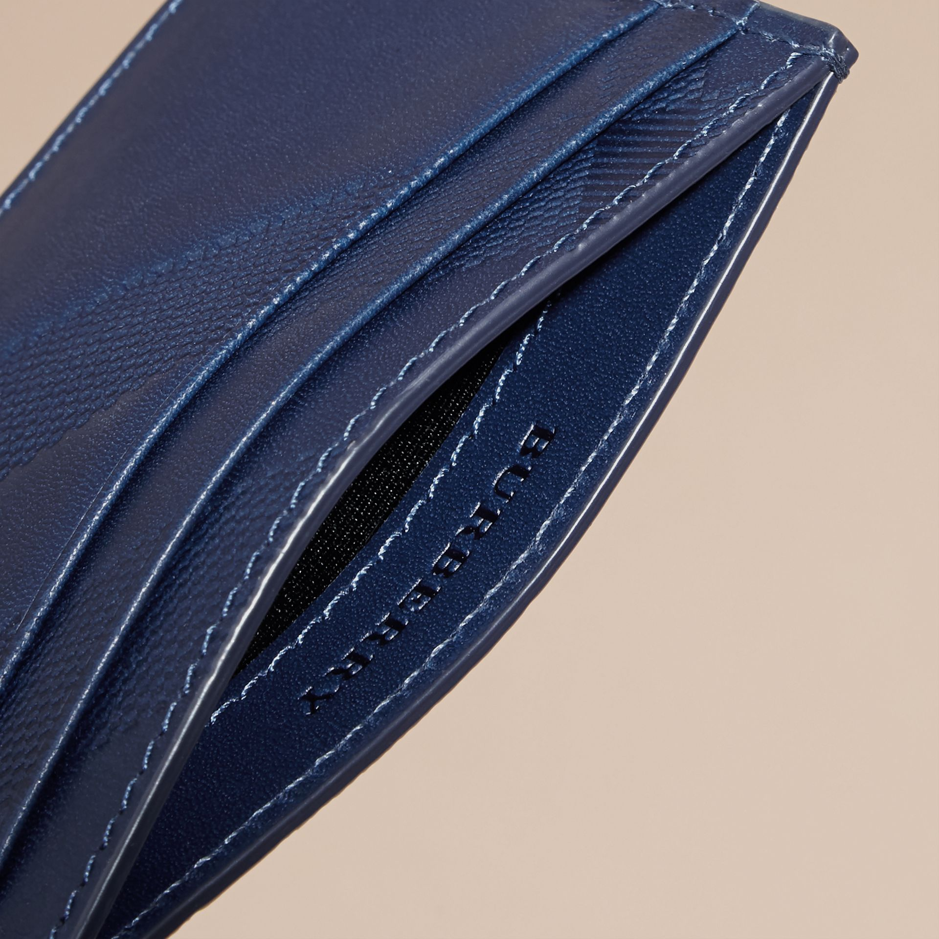 Lapis blue Check Embossed Leather Card Case Lapis Blue - gallery image 5
