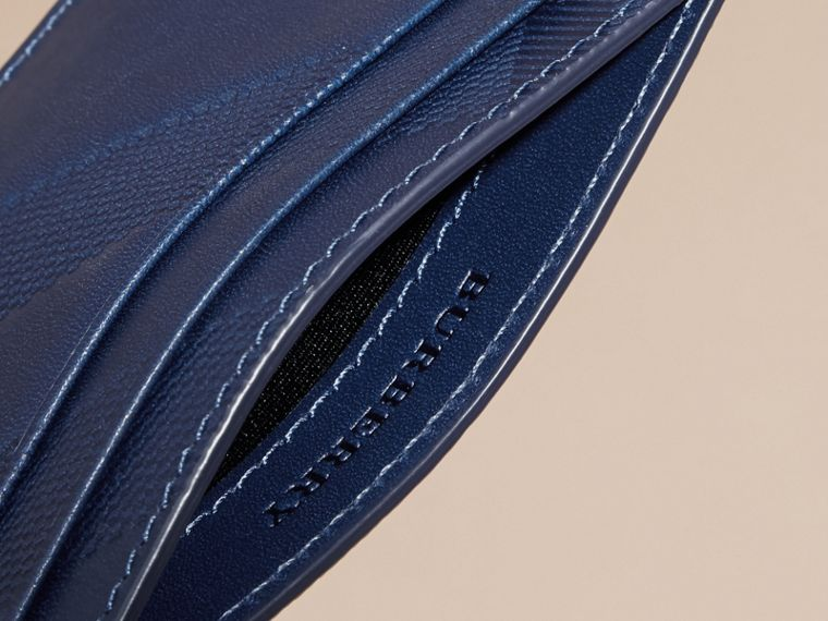 Lapis blue Check Embossed Leather Card Case Lapis Blue - cell image 4