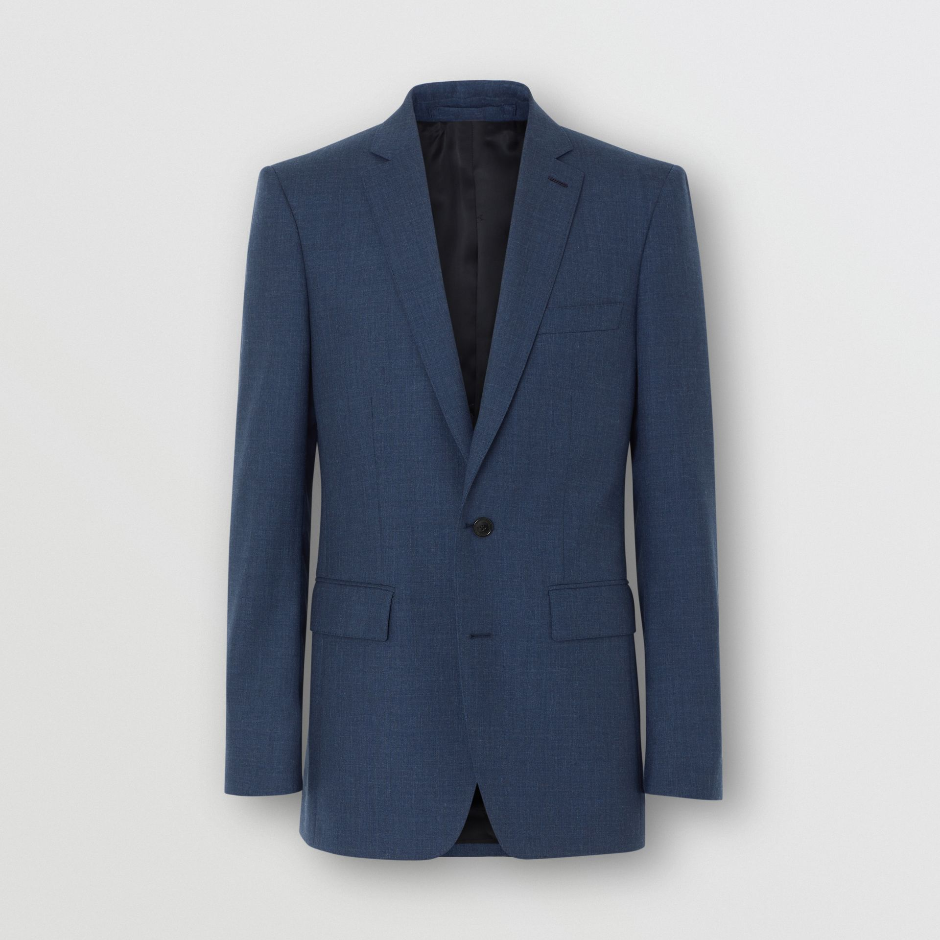 Classic Fit Wool Tailored Jacket in Steel Blue Melange - Men | Burberry United Kingdom - gallery image 3