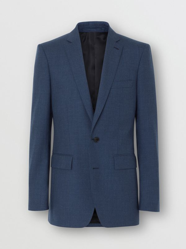 Classic Fit Wool Tailored Jacket in Steel Blue Melange - Men | Burberry United Kingdom - cell image 3