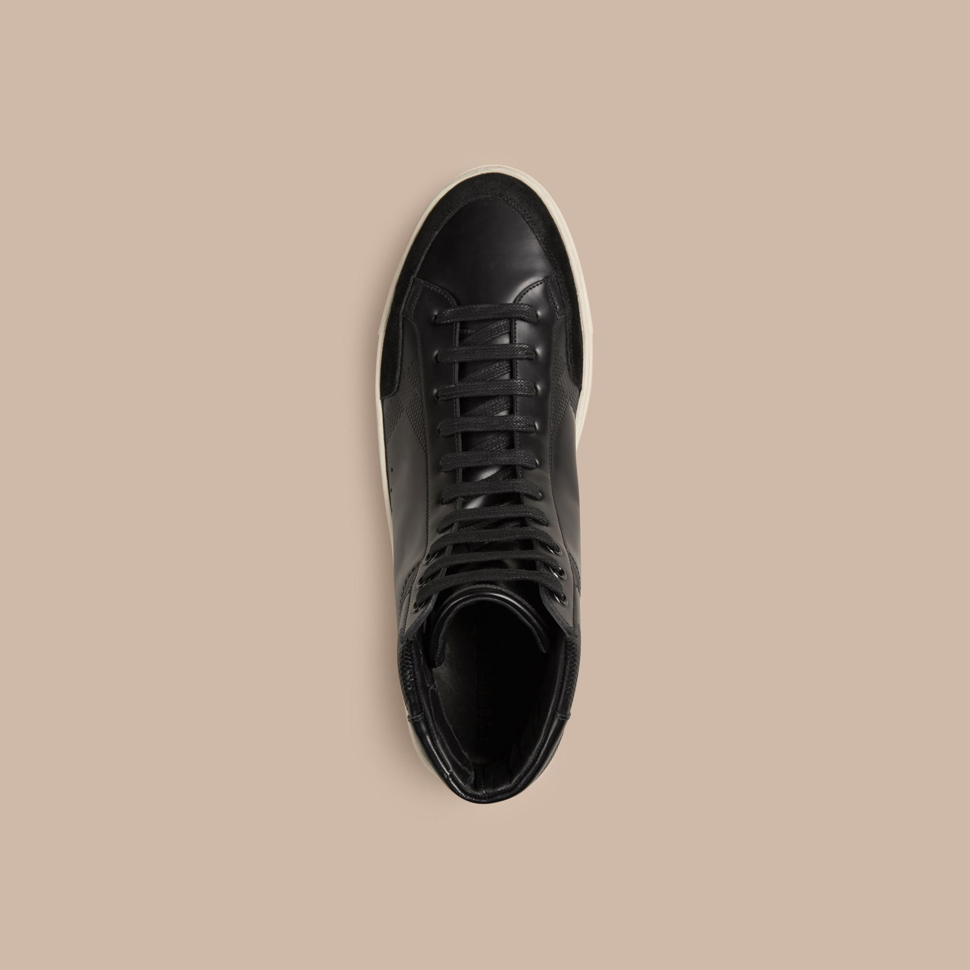 Black Embossed Check High-Top Leather Trainers - gallery image 3