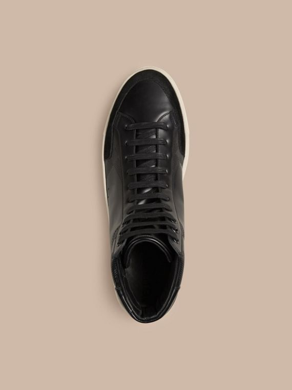 Black Embossed Check High-Top Leather Trainers - cell image 2