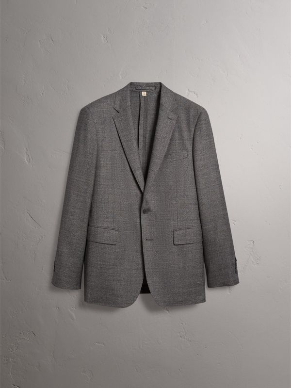 Soho Fit Houndstooth Check Wool Suit in Dark Grey Melange - Men | Burberry - cell image 3