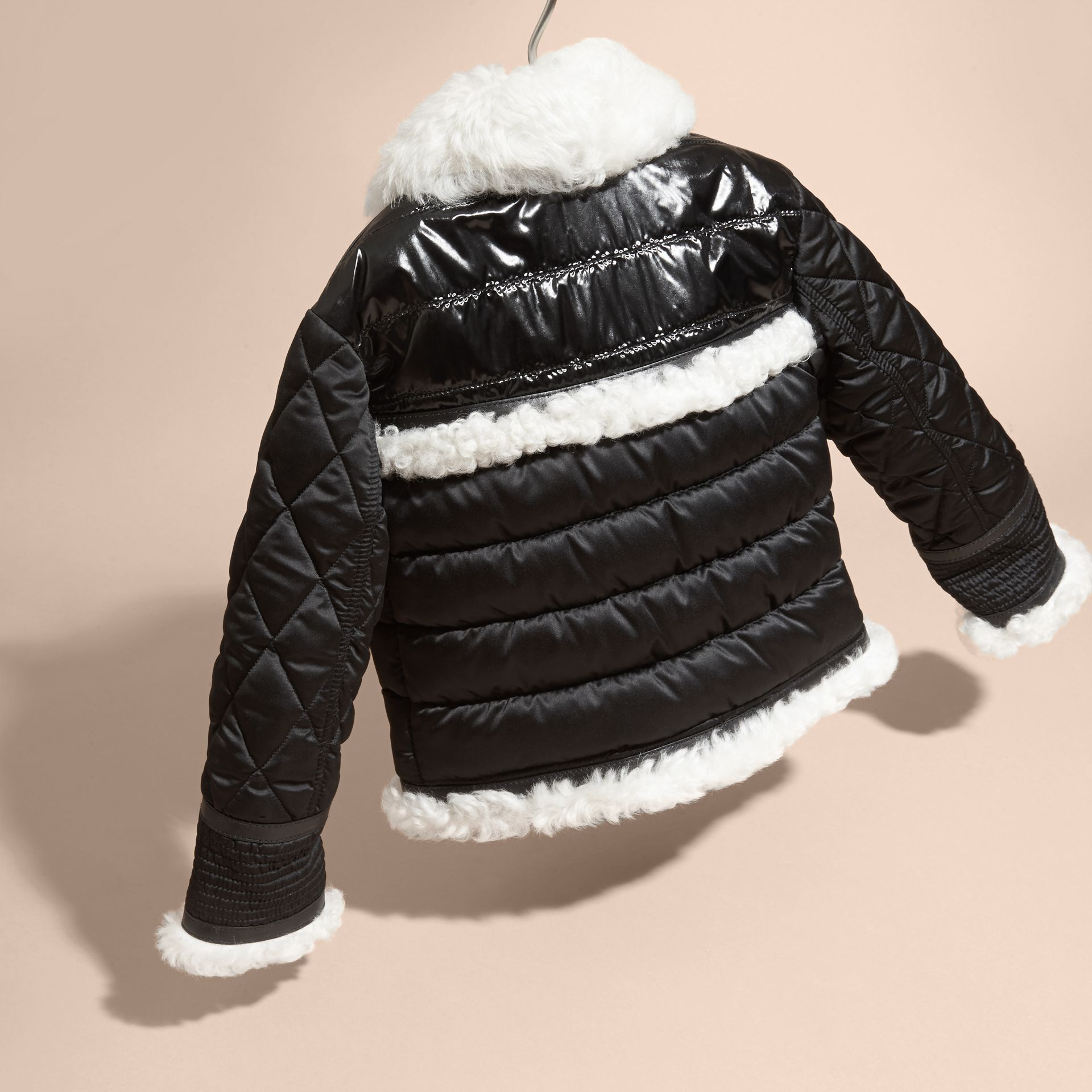 Black Shearling Trim Quilted Aviator Jacket - gallery image 3