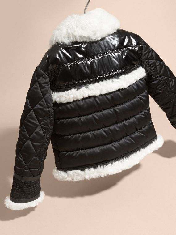Black Shearling Trim Quilted Aviator Jacket - cell image 2