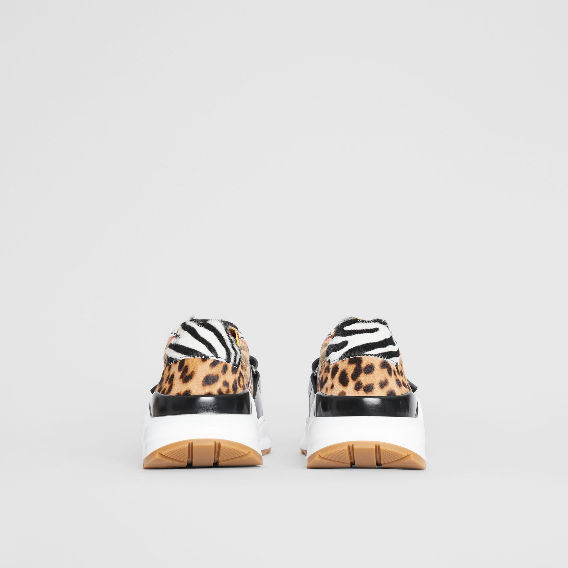 Animal Print and Vintage Check Sneakers in Antique Yellow - Women | Burberry Australia - gallery image 4