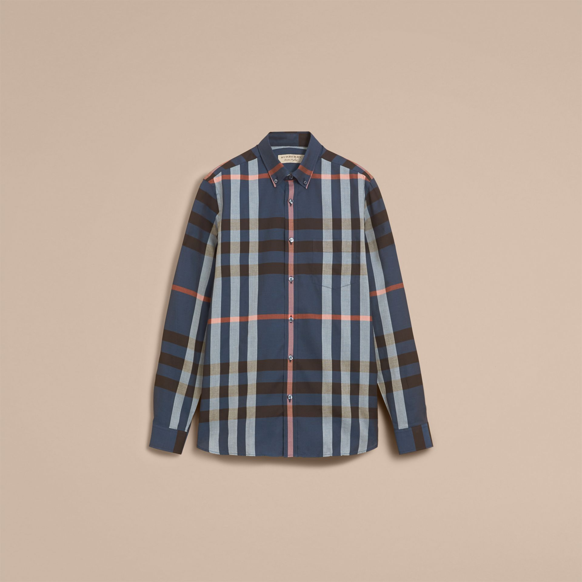 Button-down Collar Check Cotton Poplin Shirt in Ink Blue - Men | Burberry - gallery image 4