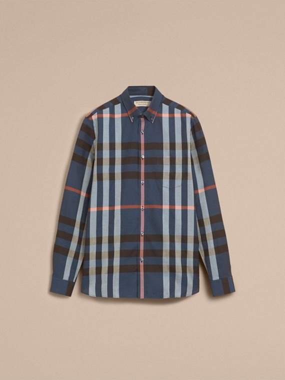 Button-down Collar Check Cotton Poplin Shirt in Ink Blue - Men | Burberry - cell image 3