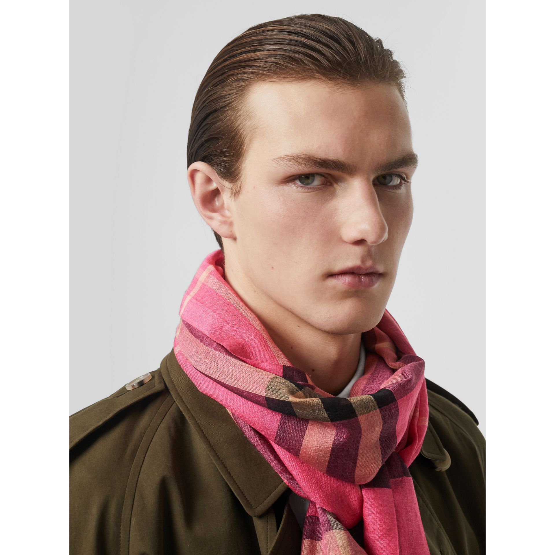 Lightweight Check Wool and Silk Scarf in Rose Pink | Burberry - gallery image 3