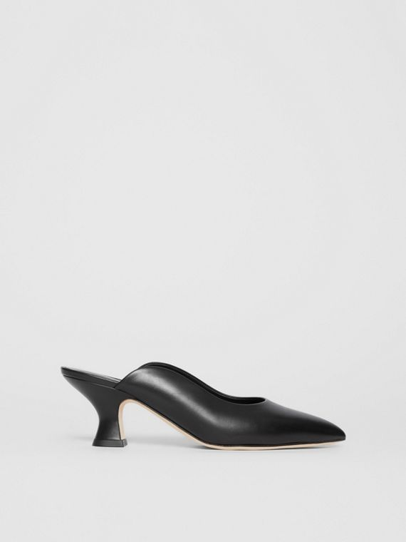 Leather Point-toe Mules in Black