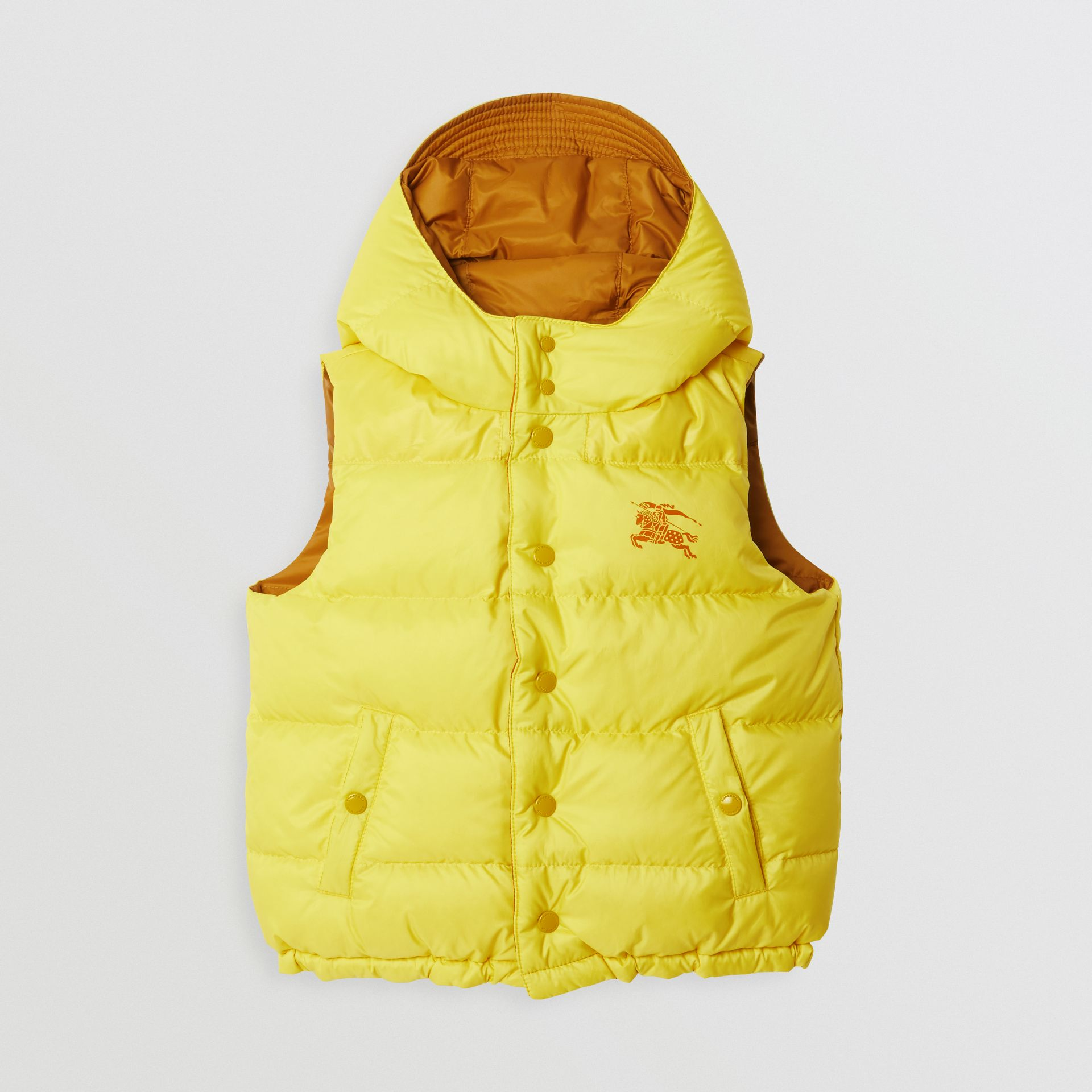 Reversible Showerproof Down-filled Hooded Gilet in Citrus Yellow | Burberry - gallery image 0